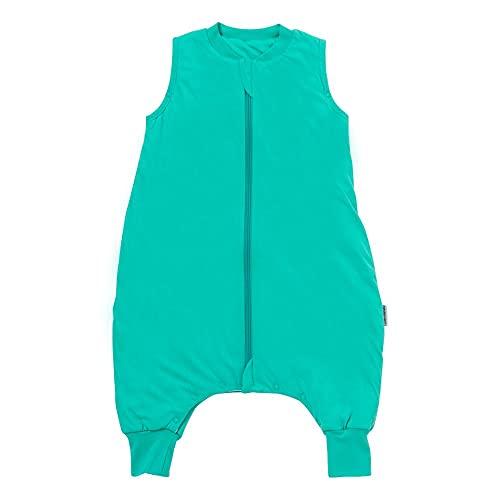 Schlummersack Saco de dormir para bebé con pies para todo el año, 2,5 tog, color turquesa, 70 cm, con botones de presión en las piernas para una estatura de 70 a 80 cm