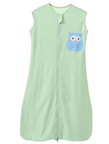 Saco de dormir para bebé de verano para niña, primavera, pijama de algodón fino con búho verde, 0,5 tog verde Búho verde. Talla:150 cm (4 - 6 Jahre)