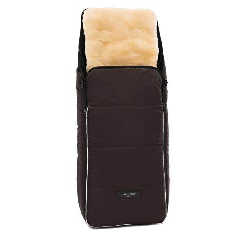 Saco para silla de paseo bebé CORTINA de WERNER CHRIST BABY – Saco de dormir universal carrito con manta extraíble para Buggy (2-en-1) - en marrón chocolate