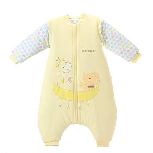 Bebé Saco de Dormir Invierno para Niños Niñas Manga Larga Algodón Pijama Mamelucos Mono Traje de Dormir 2-4 años,Amarillo
