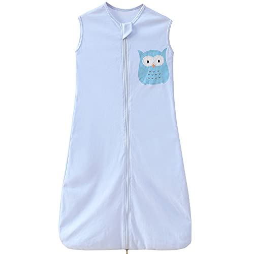 Saco de dormir para bebé de verano, 0,5 tog, 18-36 meses, diseño de búho, color azul