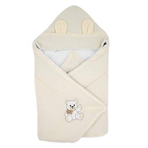 BlueberryShopThermo manta con capucha para envolver al bebé, Saco de dormir para bebés recién nacidos, Para bebés de 0-3 meses, Baby Shower, 78 x 78 cm, Blanco
