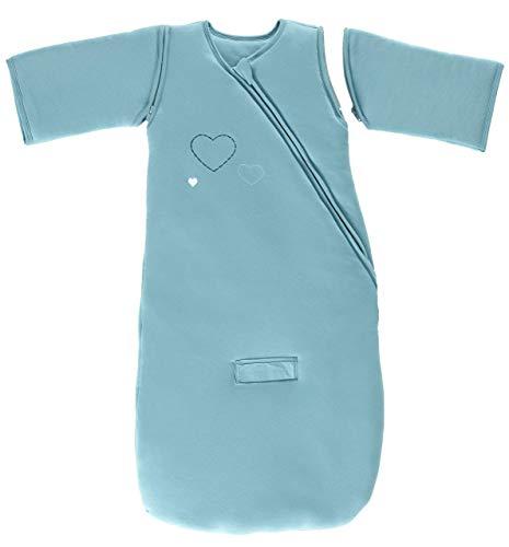 P'tit Basile - Mono de invierno con mangas desmontables, 100% algodón biológico (TOG 3), diseño con bordado de corazones azul azul turquesa Talla:24-36 meses
