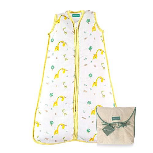 molis&co. Saco de Dormir para bebé. 0.5 TOG. Talla 18-36 Meses. Ideal para Verano. Súper Suave y Ligero. Estampado de safari en tonos amarillos y verdes. Unisex. Muselina Premium.