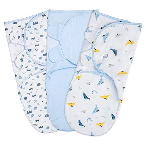 YOOFOSS Juego de 3 Envoltura Swaddle Manta 100% Algodón Saco de Dormir Manta de Arrullo Cobija Ajustable Swaddle Blanket Unisexo para Bebés Recien Nacidos 3-4 Meses