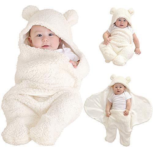 LifeTree Manta para Recién Nacido, Suave Mantas Envolventes Bebé Niños y Niñas, Saco De Dormir para Bebé Manta con Capucha 0-3 Meses