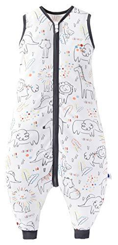 Chilsuessy Saco de dormir de verano con pies, 0,5 tog, 100% algodón, saco de dormir de verano para niños y niñas, animales de la suerte, 90 cm, altura del bebé 100-110 cm