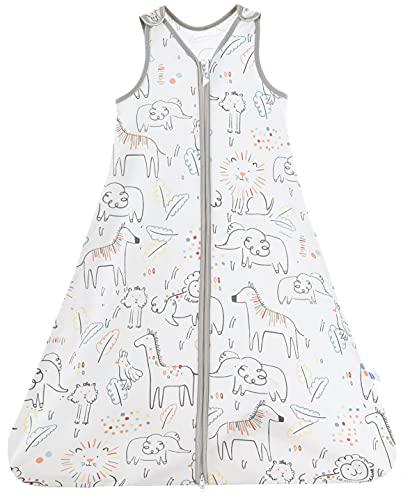 Chilsuessy Saco de dormir de verano para bebé, sin mangas, para verano y primavera, 100 % algodón, diseño de animales felices 130/bebé, altura 130 – 150 cm