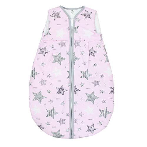 TupTam Saco de Dormir sin Mangas Calentado para Bebé, Estrellas Negro/Rosa, 80-86