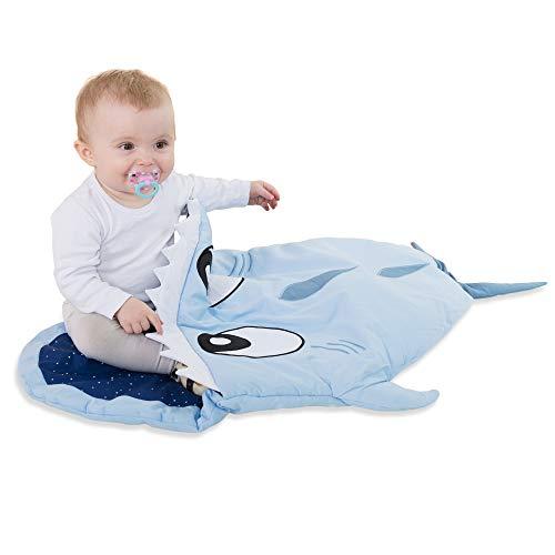 Saco de Dormir para niños Hecho de Mamelucos de algodón para niños y niñas 85 x 70 x 6 cm - Bolsa de Invierno tiburón y Mochila de Paseo para niños pequeños