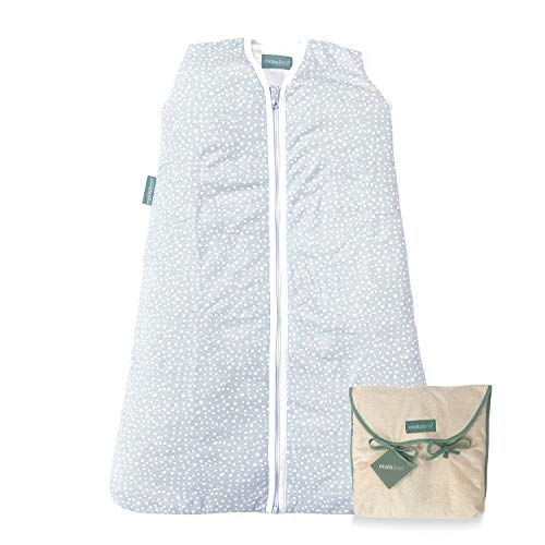 molis&co. Saco de Dormir para bebé. 2.5 TOG. Talla 6 a 18 Meses. Ideal para Entretiempo e Invierno. Suave y cálido. Grey Print. 100% algodón orgánico (GOTS).