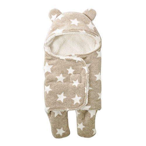 Saco de dormir de coralina para recién nacidos con capucha y pies; cálido y grueso, para otoño e invierno, de 65x75cm, para niño y niña marrón Talla:65*75CM