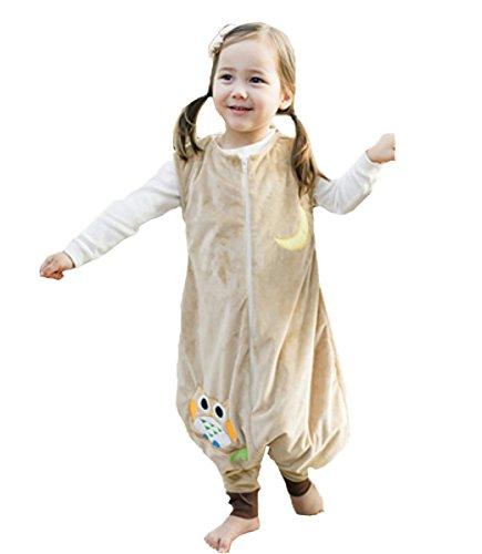 Happy Cherry - Niños Niñas Mono Saco de Dormir Dibujo Animado Algodón Infantil Pijama de Franela Cremallera para Bebé - Amarillo - M(2-4 años)