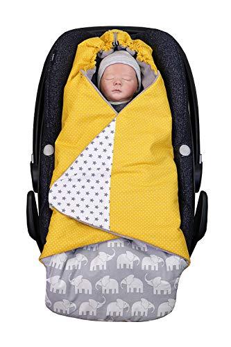 ULLENBOOM Arrullo bebé para verano e invierno | Manta envolvente para el cochecito, silla de paseo | 0-9 meses, certificado | elefantes amarillo