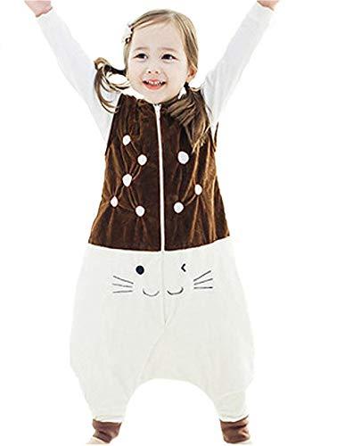 Rying Bebé Dormir Algodón Wearable Cobija Lightweight Bebé Chicas Sin Mangas Dormido Bolso con Pies Franela Cremallera Saco de Dormir para Niños Niñas (Marrón, S-(1-3 Año))