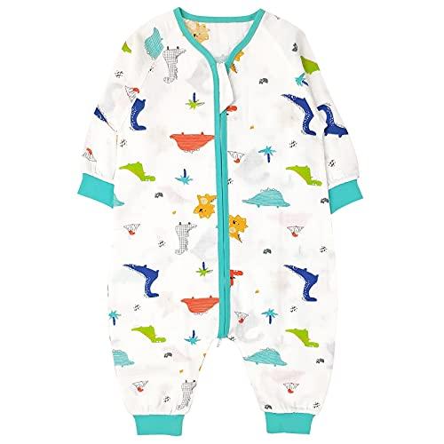 Bebé Saco de Dormir con Pies Verano Pijama Manga Larga Mono Muselina de Algodón Transpirable Mamelucos Niños Niñas Unisex 2-3 años Dinosaurio azul
