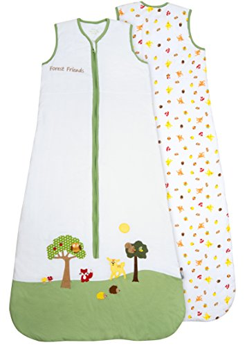 Saco de dormir para bebé (1 tog) de Slumbersac: diseño de animales del bosque, en diferentes tallas (de 0 a 6 años) blanco blanco Talla:3-6 años