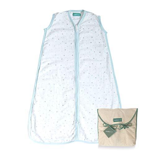 molis&co. Saco de Dormir para bebé. 0.4 TOG. Talla 6 a 18 Meses. Ideal para los Meses de Verano. Suavidad y frescor en una Sola Capa de Tejido. Blue Sky. 100% algodón.