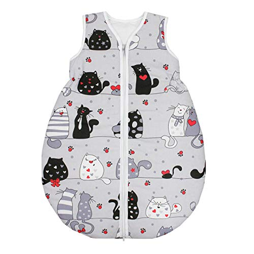 TupTam Saco de Dormir sin Mangas Calentado para Bebé, Gatos Gris/Negro, 92-98
