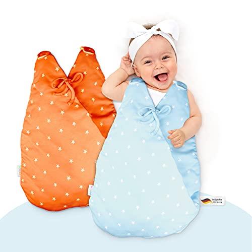 MiKaKid® Saco de dormir prémium para bebé todo el año, certificado Oeko-Tex®, lavable con función patentada SafeBag – rojo y azul – [0-3 meses & 2-6 meses] – 100% algodón agradable
