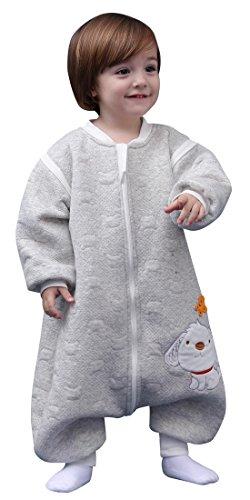 Happy Cherry - Bebés Saco de Dormir Manga Larga Desmontable Cremallera Otoño Invierno para Niños Niñas - Gris - 24-36 meses