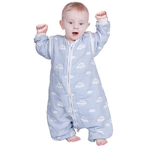 Lictin Saco de Dormir para Bebés-Saco de Dormir para Bebés con Mangas Extraíbles para Bebés Niños de 1-3 años de 75 a 95 cm 2.0 TOG Motivo de Cielo Azul y Nubes Blancas
