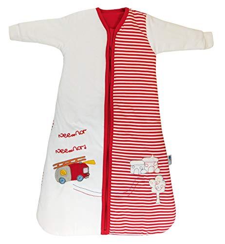 Slumbersac - Saco de dormir para bebé con diseño de un camión de bomberos (para invierno, 3.5 tog, tallas de 0-6 años) rojo/blanco Talla:6-18 meses