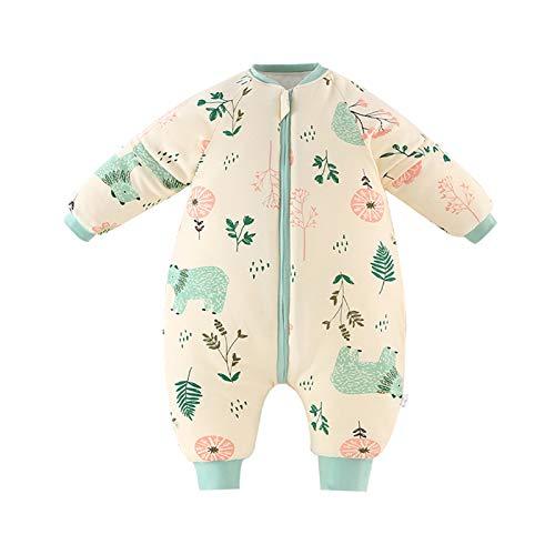 Bebé Saco de Dormir para Niños Niñas Manga Separable con Piernas Algodón Pijama Cremallera Mamelucos Mono Invierno Traje de Dormir 0-1.5 años,Amarillo(3.5Tog)