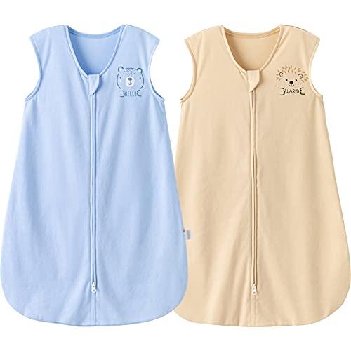 DuoMiaoMiao Saco de dormir para bebé, manta de felpa con cremallera invertida, paquete de 2 unidades unisex para bebé de 12 meses a 5 años, 0,5 TOG, azul y beige