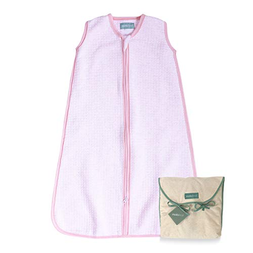 molis&co. Saco de Dormir para bebé. 1.0 TOG. Talla 18 a 36 Meses. Ideal para Entretiempo (Ligeramente Acolchado). Suave y Acogedor. Candy - Rosa. 100% algodón orgánico (Gots).
