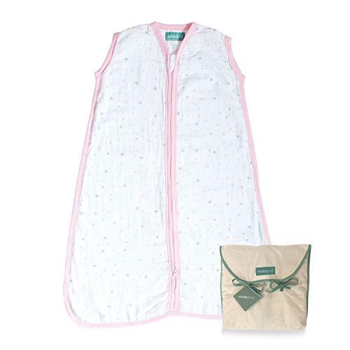 molis&co. Saco de Dormir para bebé. 0.4 TOG. Talla 6 a 18 Meses. Ideal para los Meses de Verano. Suavidad y frescor en una Sola Capa de Tejido. Pink Sky. 100% algodón.