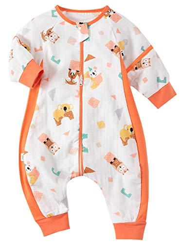 Happy Cherry Niños Saco de Dormir Cómodo de Pierna Dividida el Bebe Puede Usar Pijamas de Verano al Aire Libre con Mangas Desmontables Overoles Niños que No Encogen 2-3 Años