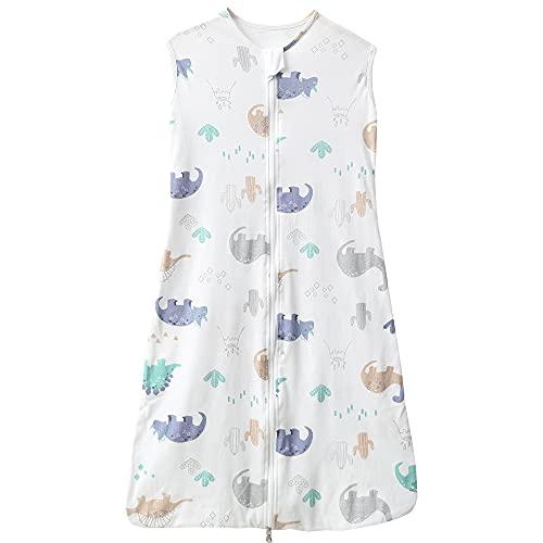Saco de dormir para bebé, verano, para niña, niña, primavera, recién nacido, de algodón, 0,5 tog. (130 cm (3-6 años), diseño de dinosaurios, color blanco