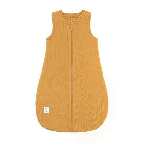 Lässig - Saco de dormir para bebé, sin mangas, muselina, algodón, unisex amarillo amarillo mostaza Talla:74/80