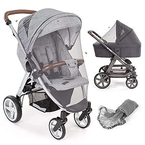 Mosquitera / Red antiinsectos universal capazo y silla de paseo   Protección contra picaduras, goma elástica, resistente, lavable, bolsa   gris