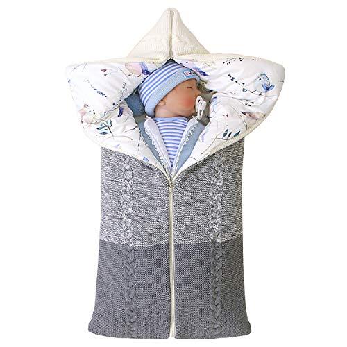 Manta Swaddle para bebé recién nacido, colchoneta multifuncional para colchoneta, saco de dormir grueso y cálido para bebés, niños y niñas de 0 a 12 meses (Gris)