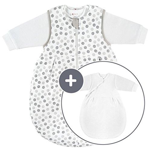 Coconette Circle Saco de dormir bebé todo el año - 2 Piezas: saco exterior forrado y saco interior de manga larga | para invierno y verano, 100% algodón - Talla: 0-3 meses (50/56)