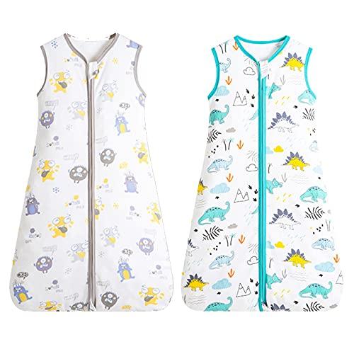 Saco de dormir de verano para bebé, sin mangas, fino, con cremallera, con algodón orgánico, para bebés de 12 a 24 meses (80 a 90 cm), dinosaurios y monstruos