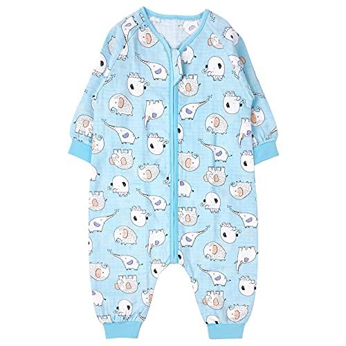 Bebé Saco de Dormir con Pies Verano Pijama Manga Larga Mono Muselina de Algodón Transpirable Mamelucos Niños Niñas Unisex 4-5 años Elefante azul