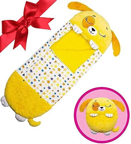 beautgreen Almohada y saco de dormir para niños, 2 en 1, almohada de siesta de animales de dibujos animados, divertido saco de dormir sorpresa cachorro amarillo (3-6 años)