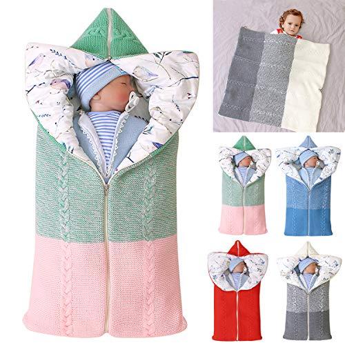 manta de cochecito de bebé, manta de bebé recién nacido saco de dormir cálido de invierno para bebés o niños de 0-12 meses (Verde)