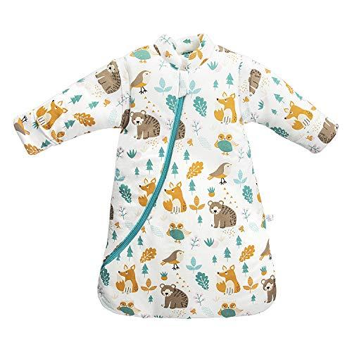 Saco de Dormir para bebé de Invierno para niños, 3,5 TOG, algodón orgánico, Diferentes tamaños, Desde el Nacimiento hasta los 4 años (Animal, 75-90cm / 6-18 Meses)