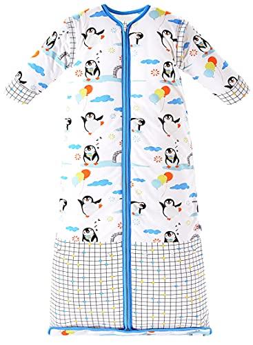 Chilsuessy - Saco de dormir para niños con mangas desmontables (para niños y niñas de 1 a 10 años de edad, talla L, 100-130 cm), diseño de pingüino, color azul