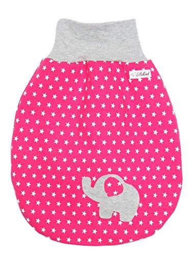 Lilakind Saco de algodón para bebé, para verano, invierno, diseño de estrellas, elefante, tallas S-XXL, fabricado en Alemania Color fucsia gris. Small