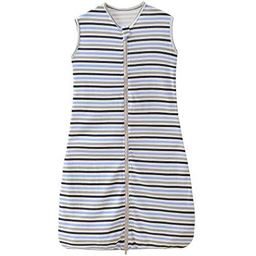 Saco de dormir de verano y primavera para bebé, niño, recién nacido, de algodón, a rayas, negro, gris y azul, 0,5 tog, 130 cm (3-6 años), rayas A
