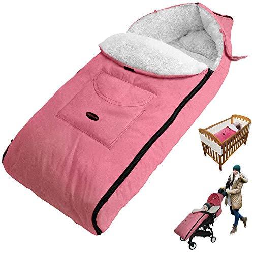 Sacos Para Sillas de Paseo, cubrepiernas para Bebé, Saco de dormir para bebé, con terciopelo Engrosado Impermeable A Prueba Viento desmontable, Apto para bebés mayores de 12 meses(Rosa)