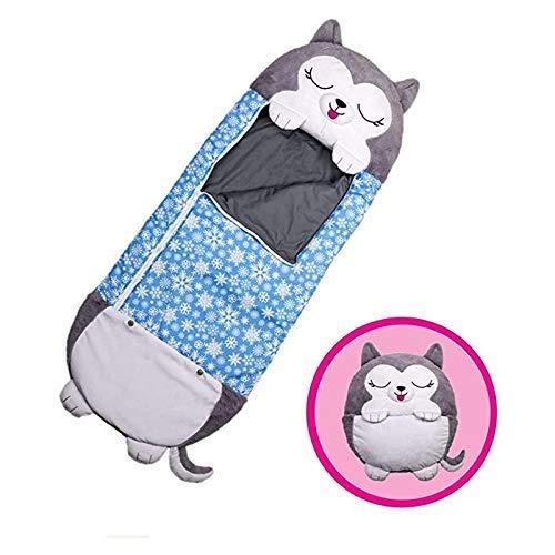 beautgreen Almohada y saco de dormir para niños, 2 en 1 con dibujos animados de animales, divertido saco de dormir sorpresa azul Husky (3-6 años)