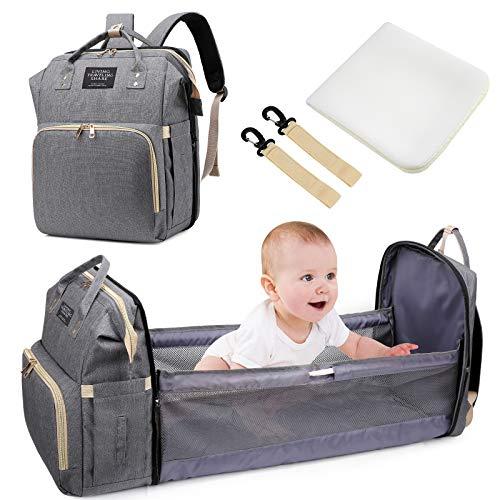 Bolsa de Pañales Portátil, Uiter Mochila para Cama de Bebé Plegable de Viaje para Bebés con Colchón Bolsa Multifuncional para Momia Impermeable Mochilas de Pañales para Bebé Gran Capacidad